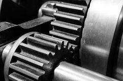 Gears closeup, black and white Stock Photography