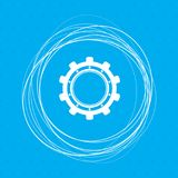 Gear, cog icon on a blue background with abstract circles around and place for your text. Illustration stock illustration