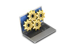 Gear cog with laptop Royalty Free Stock Photos