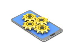 Gear cog with smart phone Royalty Free Stock Photo
