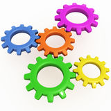 Gear cogs machinery. Machinery of gears or cogs showing corporate functioning concept or any system concept where functions are connected Stock Image