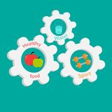 Gear cogwheel set with water, apple, dumbell. Royalty Free Stock Photography