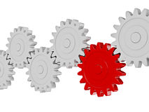 Gear cogwheels in row working together on white Stock Photos