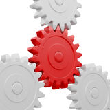 Gear cogwheels working together on white Stock Photo