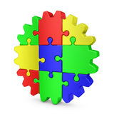 Gear  colored puzzles Royalty Free Stock Photo