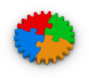 Gear of colorful jigsaw puzzles Royalty Free Stock Photo