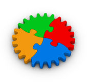 Gear of colorful jigsaw puzzles Royalty Free Stock Image