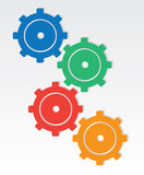 Gear Colors. Colored gears interlocking one another Royalty Free Stock Photos