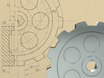 Gear concept. Gear drawing and 3D gear Royalty Free Stock Image