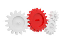 Gear connect. 3d render of gear connect with red one on white background Stock Photography