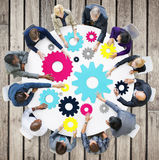 Gear Connection Corporate Team Teamwork Meeting Concept Stock Image