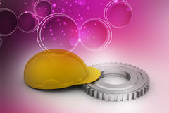 Gear with construction cap Stock Photo