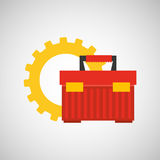 Gear construction tool box red Stock Photos