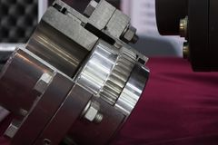 Gear coupling for motor transmission. Mechanical part Royalty Free Stock Images