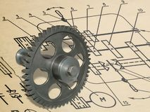 Gear drawing Royalty Free Stock Photo