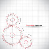 Gear drawing background  Royalty Free Stock Images