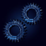 Gear with electronic circuit royalty free illustration
