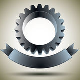 Gear emblem with blank banner. Royalty Free Stock Image