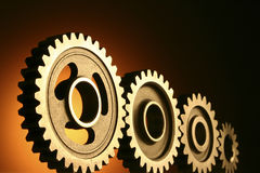 Gear. Factory Used, Manufacturing- 4 Gears Stock Photos