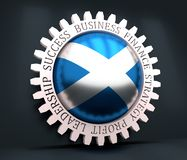 Gear with flag. Cog wheel with Scotland flag. Precision machinery relative backdrop. 3D rendering royalty free illustration