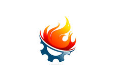 Gear  flame fire logo. Gear with flame fire vector logo design template Royalty Free Stock Photography