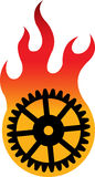 Gear flame logo. Illustration art of a gear flame logo with isolated background Stock Images