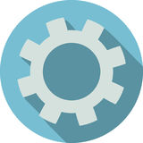 Gear flat icon light blue background Royalty Free Stock Image