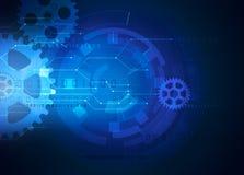 Gear futuristic technology blue background Stock Photos