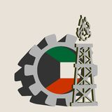 Gear with gas rig simple icon, textured by Kuwait flag
