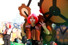Gear Girl in Grand Finale Parade. Standard Chartered Arts in the Park Mardi Gras is one of Hong Kong's largest and most vibrant annual community arts events Royalty Free Stock Photography
