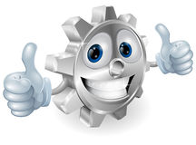 Gear giving thumbs up cartoon character Royalty Free Stock Images