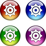 Gear glossy button icon Royalty Free Stock Images