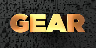 Gear - Gold text on black background - 3D rendered royalty free stock picture Stock Images