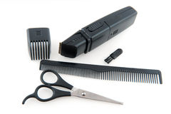 Gear for hair dresser. Complete equipment for the hair dresser in black royalty free stock photography