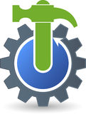 Gear hammer logo Royalty Free Stock Photography