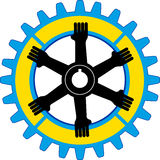 Gear hands. Illustration art of a gear hands with isolated background Royalty Free Stock Photos