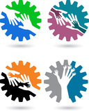 Gear hands. Illustration art of a collections gear hands logo with isolated background Royalty Free Stock Image