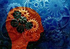 Gear head concept. Head and gears over assorted metal gears grunge background Stock Image