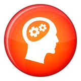 Gear in head icon, flat style Royalty Free Stock Image