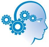 Gear Head Logo. A logo icon of a gear mind head thinking person Stock Photos