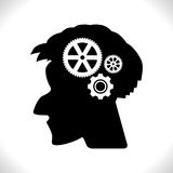 Gear in Head Pictograph. Isolated on White Background. Mind or Brain Icon, Generation of Ideas Symbol Stock Image