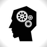 Gear in Head Pictograph. Isolated on White Background. Mind or Brain Icon, Generation of Ideas Symbol Stock Photography