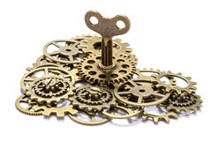 Gear heart with key Stock Image