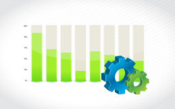 Gear icon with bar chart diagram illustration. Design Stock Image