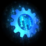 Gear Icon on Dark Digital Background. Gear Icon - Text in Blue Color on Dark Digital Background Royalty Free Stock Photos