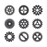 Gear icon set. Vector transmission cog wheels and gears isolated on white background stock illustration