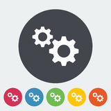 Gear icon. Gear. Single flat icon on the circle button. Vector illustration Stock Photography
