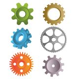 Gear icons. Manufacturing gears of six types Vector Illustration