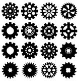Gear icons, vector. Collection of black gear icons, vector Royalty Free Stock Photography