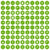 100 gear icons hexagon green. 100 gear icons set in green hexagon isolated vector illustration Stock Illustration